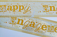 9ft Sparkly Holographic Happy Engagement Gold + Silver Banner Party Decoration