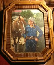 Vintage Gene Autry Horse Cowboy Puzzle Framed Bamboo Plastic Glass 1950's