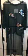 Zara Green Patch Tulle T - Shirt Top Oversized Sheer Asymmetric Top Size Medium