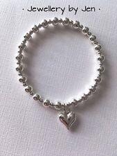 Handmade Heart Chunky Silver Plated Stretch Bracelet ❤️