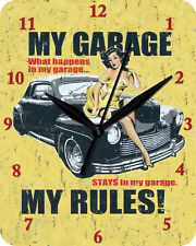 Wanduhr MY GARAGE MY RULES Uhr Clock WC 93