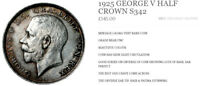 1925 HALF CROWN GEORGE V KEY DATE STUNNING LOOKING COIN, NEAR UNC  COIN S342