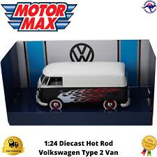 Diecast Model Car Volkswagen Type 2 (T1) Delivery Van 1:24 Scale Hot Rod Black