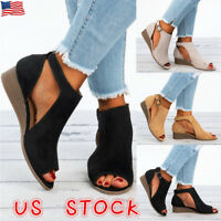 Lady Wedge Heel Espadrilles Womens Summer Beach Sandals Peep Toe Shoes Platforms