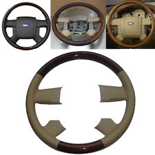 Tan Leather Wood Steering Wheel Cover for 2004-2008 Ford F150 FX4 Lincoln Mark