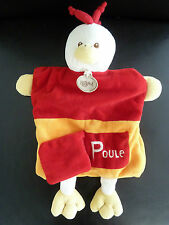 B6- DOUDOU PLAT MARIONNETTE BABY NAT P COMME POULE ROUGE ORANGE - EXCELLENT ETAT