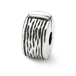 Hinged Clip Bead .925 Sterling Silver Antique Finish Reflection Beads