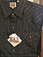 Ely Cattleman Men's Western Shirt BLACK Silver Gold Long Sleeve Lurex Stripe