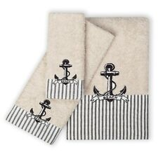 Anchor Bath Towels Beach Theme Bathroom Decor Nautical 3 Piece Set Hand Cotton