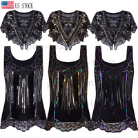 1920s Vintage Sequin Beaded Tops Sparkly Cocktail Tank Party Dressy Top Vest