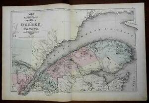 Eastern Quebec Canada St. Lawrence Seaway 1875 Walling & Tache map