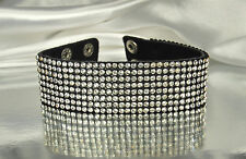 BLING! BLACK LEATHER Cowhide Bracelet with 384 Faceted Crystal RHINESTONES~Fab!!