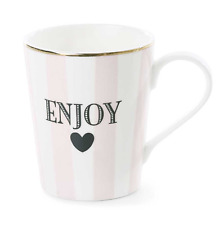 Stripe Enjoy Ceramic Coffee Mug In White/Rose With Gold band By Miss Etoile NEW