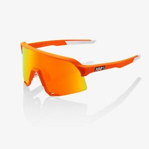 100% S3 Neon Orange Sunglasses, Red Multilayer Mirror + Clear Lens