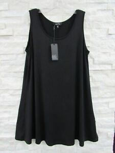 NWT Comfy USA Black Stretch Modal Jersey Long Flared Tunic Tank Top L
