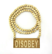 "WOODEN DISOBEY PENDANT PIECE & 36"" CHAIN BEAD NECKLACE GOOD WOOD OBEY STYLE"
