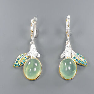 Fine Art SET Prehnite Earrings Silver 925 Sterling   /E46209