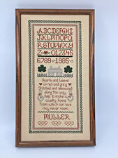 "Framed Cross Stitch Country Home Sampler ABC's Numbers Muller  9 1/2"" x 16 1/4"""