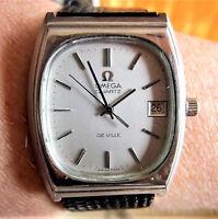 Superb 1970s Gents SS Omega Deville Quartz Date Watch cal 1342 Serviced
