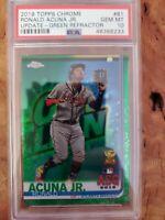 2019 Ronald Acuna #81 67/99  Green Refractor PSA 10 Pop 8