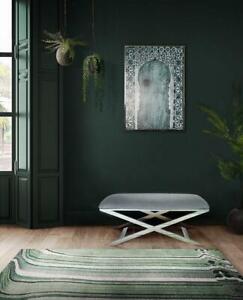 Upholstered Rectangular Stool Bench Velvet Grey Finish Bedroom Living Room