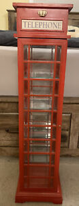 British Telephone Booth Display Cabinet - 3' Tall - 4 Glass Shelves!