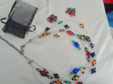 CHICO'S 4 STRANDS MULTI CRYSTALS ON CHAIN W, MATCHING EARRINGS