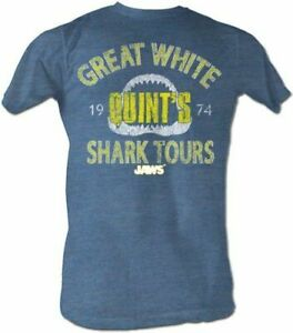 JAWS Quint's Great White Shark Tours Adult Pacific Blue T-Shirt