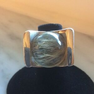 Custom Made Sterling Silver And Rutilated  Quartz Large Outstanding Ring