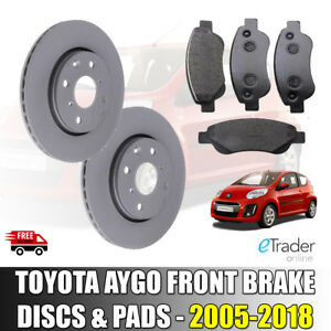 FRONT BRAKE DISCS AND & PADS For TOYOTA AYGO 1.0 05-15 DISC x 2 PAD SET x 4
