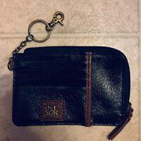 The Sak Leather ID Card Keychain Wallet Black