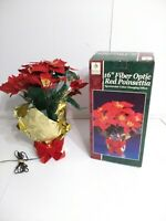 "Vintage Holiday Season 16"" Christmas Fiber Optic Color Changing Red Poinsettia"