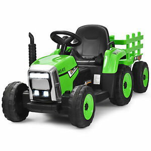 12V Kids Ride On Tractor with Trailer Ground Loader w/Remote Control &LED Lights