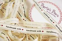 Bertie's Bows 'Handmade with love(heart)' 16mm Grosgrain Ribbon -1m & 2m