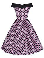 RETRO VINTAGE 50's PINK BLACK DOT OFF SHOULDER PINUP ROCKABILLY DRESS NEW 8 - 18