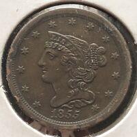 1855 Half Cent Braided Hair 1/2 Cent High Grade XF - AU #2399