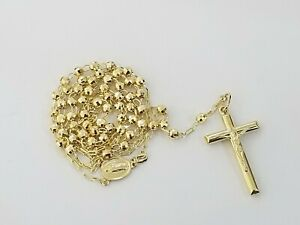 """4mm 29"""" 14k Yellow Gold Diamond Cut Jesus Crucifix Rosary Necklace Real Chain"""
