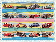 STAMP / TIMBRE / GUINEA EQUATORIAL / THE CARS / VOITURE BLOC DE 16 TIMBRES