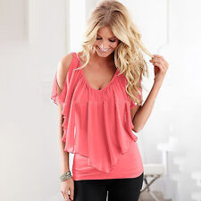 Womens Summer Chiffon Top Blouse Cold Shoulder V Neck Ruffle Casual Tee T-Shirts