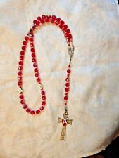 CONFIRMATION ROSARY Crystal AB Beads, H.Spirit Center & OFB beads, Hand-made NEW
