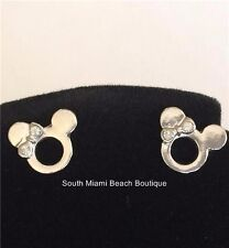 Silver Plated Crystal Minnie Mouse Earrings Mickey Disney Bow Post Pierced USA