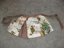 Vintage Half Apron Ferns Sugar Tea Cup Floral Hide A Pocket