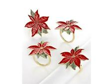 Lenox Poinsettia Napkin Rings ~Set of 4~ (Holiday Must Have) ~New~