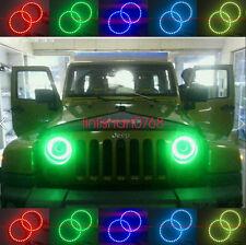 "RGB Multi-Color LED Angel Eyes Halo Rings For Jeep Wrangler CJ TJ JK 7"" Headlamp"