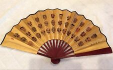 Antique Chinese Hand Fan with designs of Peking Opera Masks and Ancient Poetry