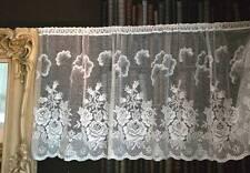 """Vintage ROSE Garden cotton cafe curtain Nottingham lace valance bris-bise 26"""" Wh"""