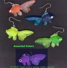 Funny NEON GUMMY GOLDFISH EARRINGS Fish Toy Novelty Luau Charm Funky Jewelry-1pr