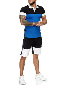 2021 NEW Gym Men's summer Casual color matching outdoor sports short sleeve suit