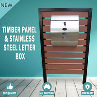 NEW Timber Pillar Panel Letterbox Hendon Stainless Steel Mailbox Wall Mount