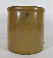 Antique Merrill & Co Akron O 19th C Two Gallon Crock Cobalt 2 Tobacco Spit yqz